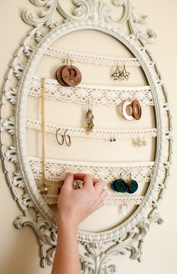 Jewelry Display Repurposed Painted Frame...Vintage Inspired