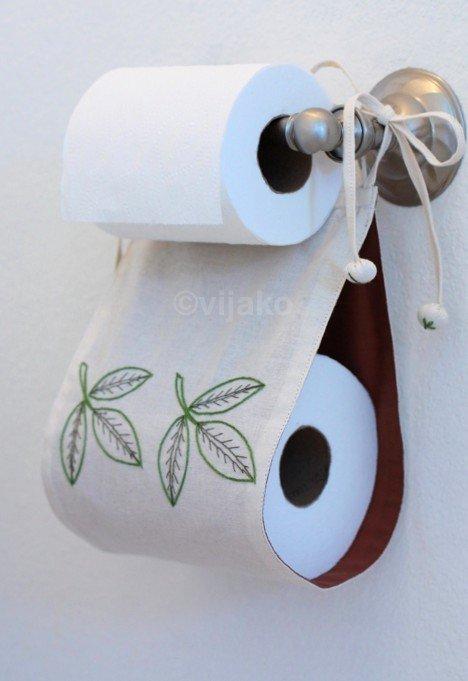 Hímzett fehér toalettpapír tartó levél tervezés