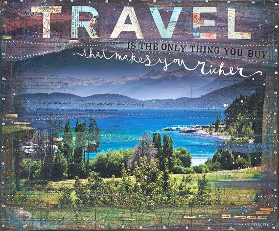 Limited Edition - 14 x 11 papír nyomtatás - The Only Thing - inspiráló utazás grafikát, szóval art tipográfia poszter kék, lila