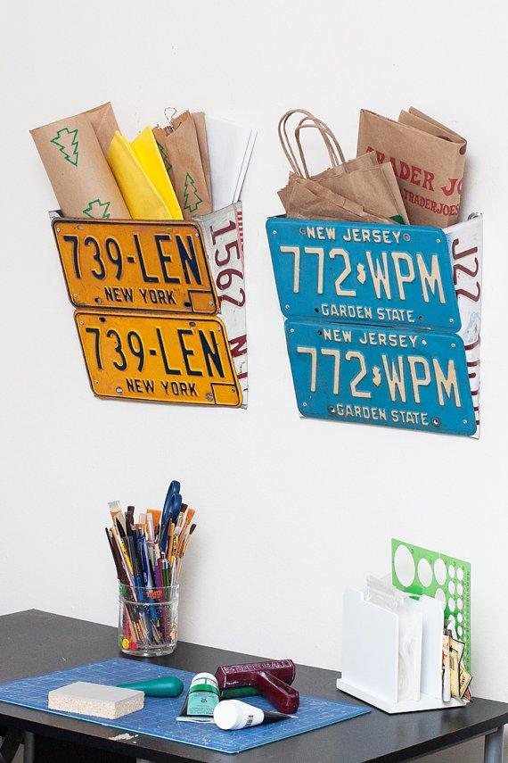 License Plate Wall Organizer - New York - Orange