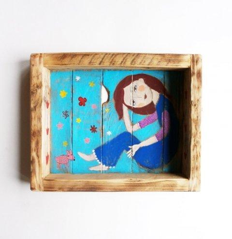 ábrándozva, Dekoráció, Baba-mama-gyerek, Otthon, lakberendezés, Gyerekszoba, egyedi, kezzel festett fali dekoracio. hatul akasztoval. kb 30x24cm es 5cm mely., Meska