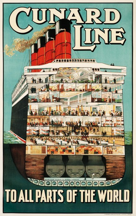 printables, classic posters, free download, graphic design, retro prints, travel, travel posters, vintage, vintage posters, Cunard Line, To All Parts of the World - Vintage Travel Poster