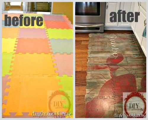 Kitchen Upcycling Ideas - DIY Inspired -- cool idea for up cycling the kids' mats to more upscale look, might use for floor in play area once basement finished