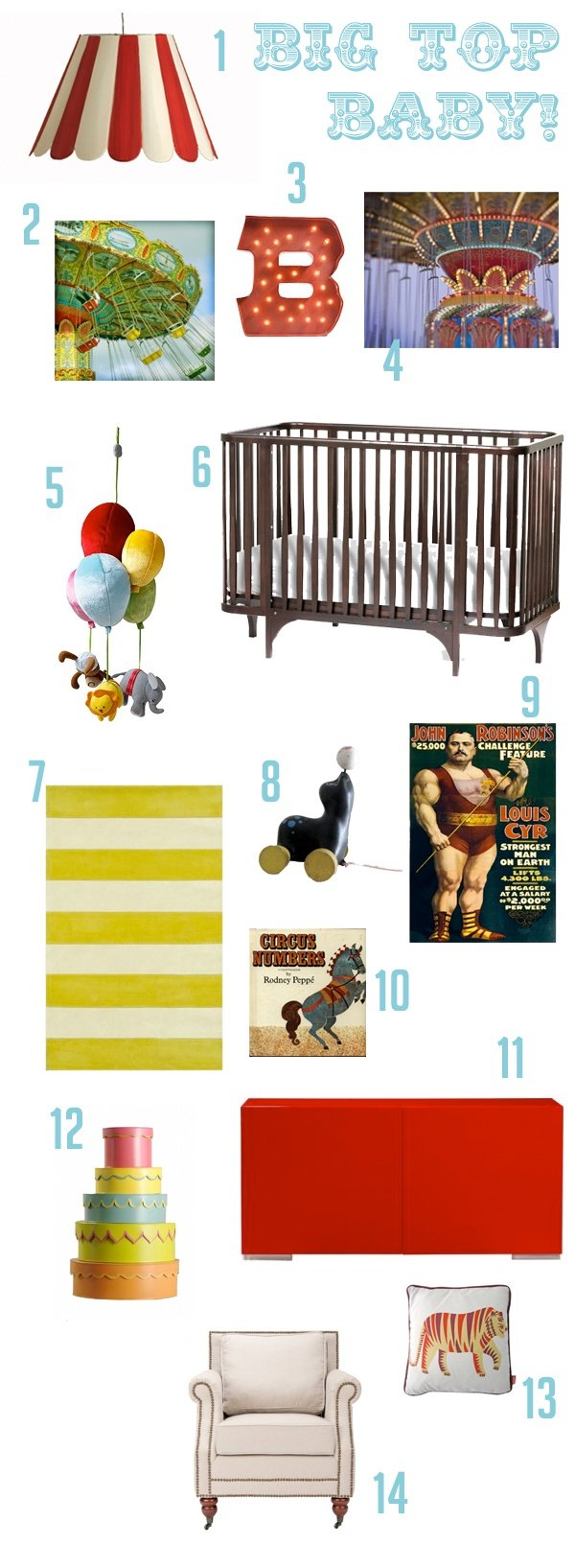 circus inspired nursery inspiration board